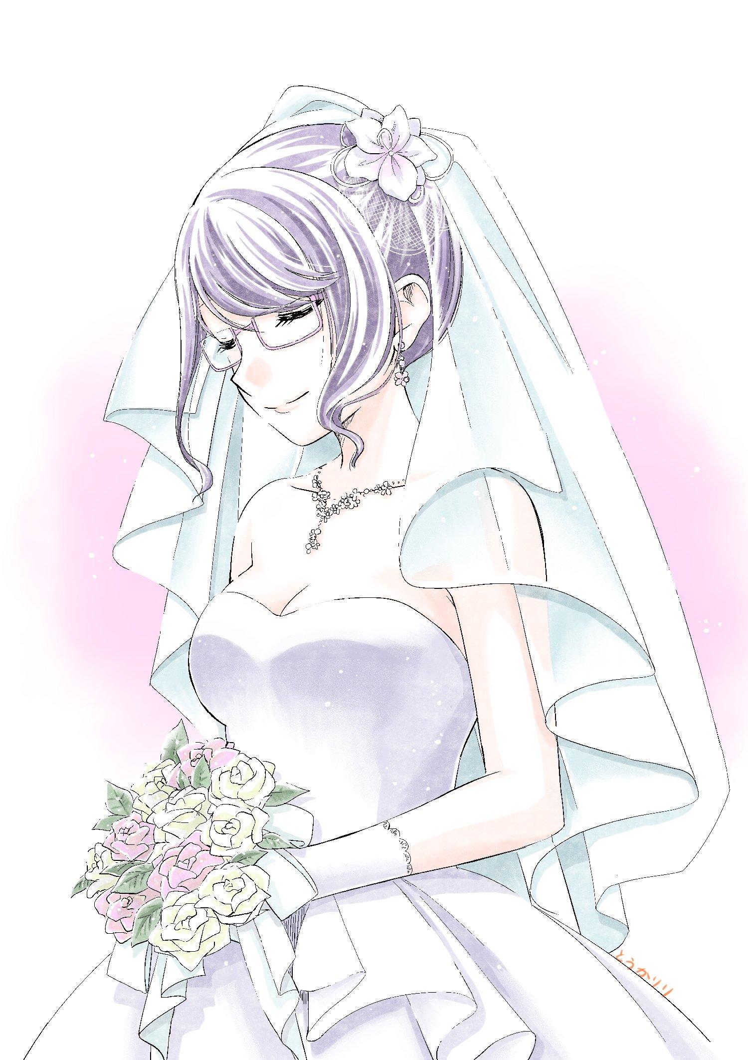 【イラスト】ウエディングドレスの松風さん【松風さん、走ってる。】